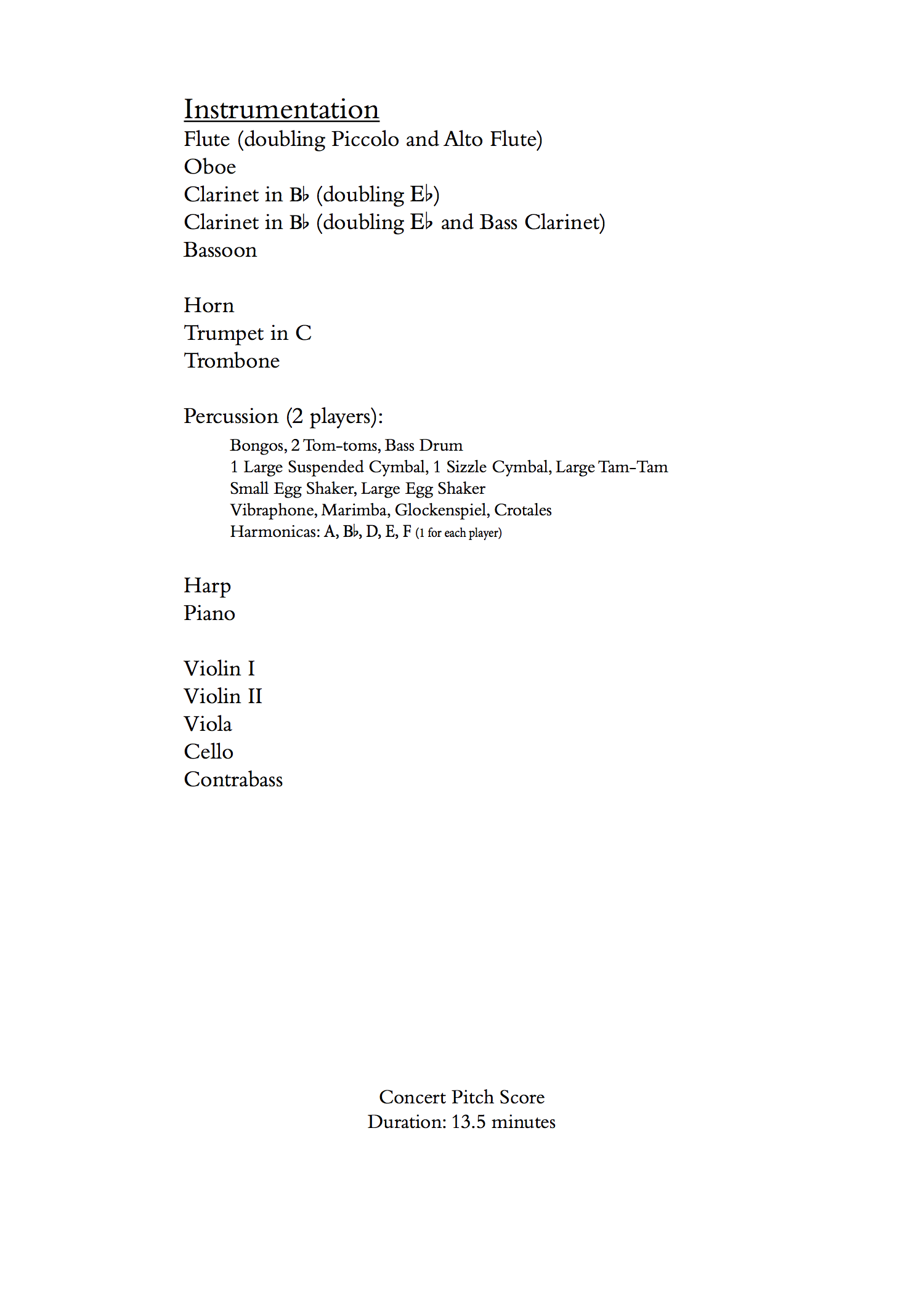 Three Pieces for Chamber Orchestra